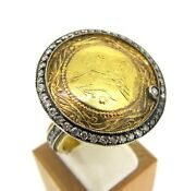Atelier Minyon 18k Gold And Sterling Silver Turkish Coin Diamond Ring Size 8