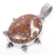Root Palm Agate Gemstone 925 Silver-plated Jewelry Pendant 1.58 Inch Gbj-1763
