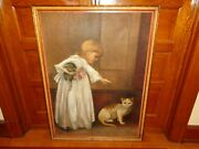 Antique Or Old Vintage Oil On Burlap Painting Of A Girl With A Doll And Two Cats