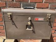 Vintage Sears Craftsman 7 Drawer Machinist Tool Box Chest Brown With 1 Key