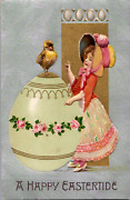 Winsch Girl Easter Bonnet Huge Egg With Roses Baby Chick Gold Silver Inks