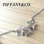 Authentic And Co. 3 Open Star Necklace 925 Sterling Silver No Box