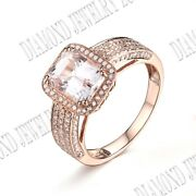 Noble 9x7mm Solid 10k Rose Gold Prong Setting Morganite And Si/h Real Diamond Ring