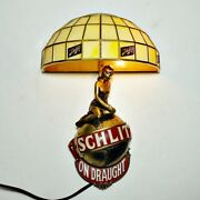 Beer Lamp. 🍺 Schlitz On Draught Lady On Globe Deco Shade Vg