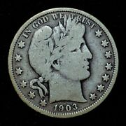 1903-p Barber Half Dollar ✪ Vg Very Good ✪ 50c Silver L@@k Now R144 ◢trusted◣