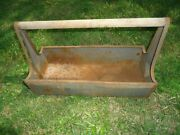 Vintage Craftsman Carryall Metal Tool Box Carrier Garden Tote With Wooden Handle