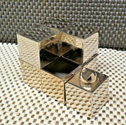 Rare Antique Ashtray Square Style Rubiks Cube Chrome Object Collection Vintage