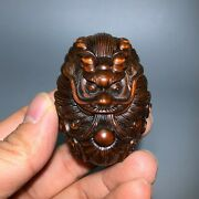 Japanese Netsuke Old Boxwood Collectible Vintage Dragon Hand Pieces Statue C17