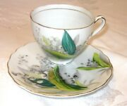 Vintage Lilly Of The Valley Tea Cup And Saucer Hand Painted Kasuga Ware