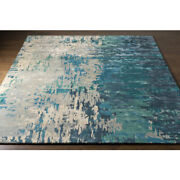 8x11 Designer Contemporary Banshee Hand-tufted Teal Wool Rug Free Shipping