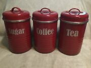 Pre-owned Set Of 3 Dark Red Typhoon Vintage Kitchen Canisters