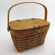 Vtg Longaberger 1993 Hearthland Small Purse Basket W/leather Hinged Lid And Handle