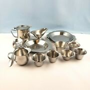 Lot 20 Pieces Stainless Steel Creamer Gravy Boat Pitcher Plates Condiment Cups