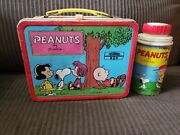 Peanuts 1973 Metal Lunchbox Charlie Brown Snoopy With Thermos Schulz
