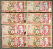 Romania 8 X 100000 Lei Paper Banknotes In Vg+ Condition. Read
