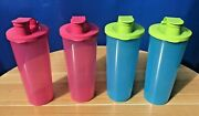 Tupperware Tumblers With Flip Top Lids 16oz Pink And Green Set Of 4