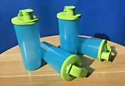 Tupperware Tumblers With Flip Top Lids 16oz Set Of 4 Green Color New