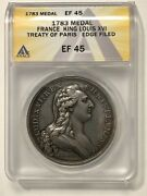 1783 Treaty Of Paris Medal France King Louis Xvi Anacs Xf45 High Relief Silver