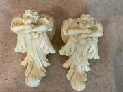 Set Of 2 Resin Stone Look Cherub Curtain/scarf Holders/sconces New