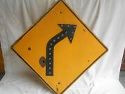 Right Curve Ahead--yellow Road/street Sign--cat-eye Reflectors-+ Bullet Hole