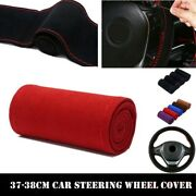 38cm Red Diy Car Steering Wheel Covers Soft Leather Scrub W/ Needle And Thread