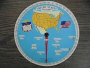 1931 At A Glance U.s. States Chart Wheel-colorful And Quite Nice-10 Inches
