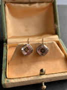 Georgian Yellow Gold And Silver Pink Stuart Crystal Earrings