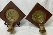 Wilton Brass Trivet Sconces Wall Candle Holder Framed Wood Vintage Cow Hay Theme