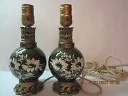 Vintage Glass Hurricane Lamp Pair-dark Green And Floral-brass-very Old-both Work