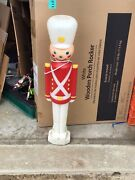 Vintage Hat Toy Soldier Nut Cracker Christmas Lighted Blow Mold Decoration