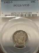 1902-s Barber Dime Pcgs Certified Vf35 Scarce This Nice