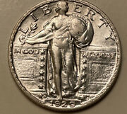 1929-s Standing Liberty Silver Quarter Uncirculated Lightly Cleaned 434