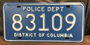 Vintage District Of Columbia Police Department Auto License Plate 83109 Retired