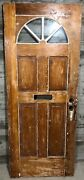 Antique Exterior Stained Wood French Entry Door Half-moon Glass 32x79