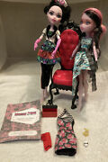 Monster High Doll Furniture Chair 2 Dolls Lot Diary Box And Extra Dress
