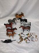 Lot Of 8 Vintage Toy Horses And Accesories Hard Plastic Clydesdale And Others