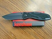 Kershaw Blur Pocket Knife W/assisted Opening And Clip, Black, Usa 1670blk