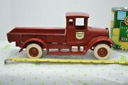 Rare Cast Iron Red Baby Arcade International Harvester Fixed Bed Truck 1920's