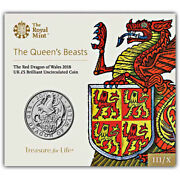 Uk United Kingdom Great Britain 5 Pounds The Red Dragon Of Wales 2018 Bunc