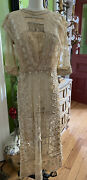 Antique 1900's French Net Tambour Lace Wedding Gown Dress Raised Embroidery