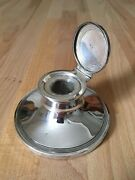 Antique 1915 Solid Sterling Silver Capstan Inkwell - Vintage Art Deco Style
