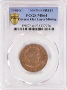 Pcgs 1 1980-s Sba Dollar Missing Obverse Clad Layer Ms64 Rb