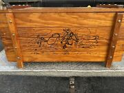 Vintage 50s Wooden Toy Chest Box Cowboys Rodeo Roping Rancher Western Horses