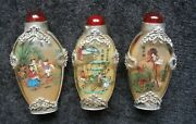 Antique Chinese Snuff Bottles Set Of Three