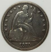 1870-cc Seated Liberty Silver Dollar Very Rare Key Date Cleaned