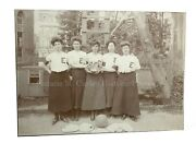 Vintage 1890s Womenand039s Basketball Team W/ Trophy Victorian Sports Photo