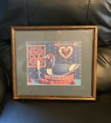 Vintage Framed Matted Duck Decoy Print Picture Betty Mccool Country Folk Art
