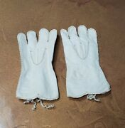 Antique Leather French Fashion Doll White Gloves 3 Long