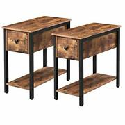 Hoobro Set Of 2 Narrow End Table 2-tier Nightstand With Drawer And Shelf Side...