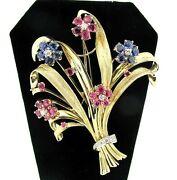 14k Yellow Gold Diamonds Ruby And Sapphires Retro Flower Bouquet Brooch Rare